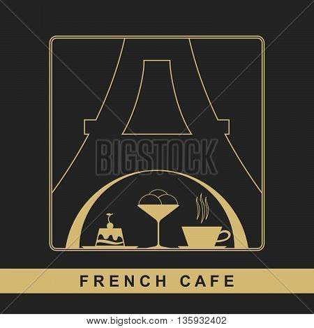 Traditional French kitchen mono line logo with sweet and coffee