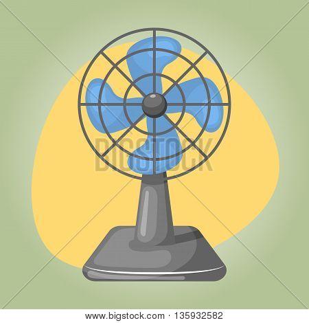 Vector Illustration Of Blue Desk Fan