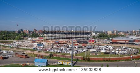 CALGARY, CANADA - JUNE 5: Calgary Stampede's rodeo grounds on June 5, 2016 in Calgary, Alberta. Calgary Stampede's rodeo grounds are home to one of the biggest rodeos on earth.