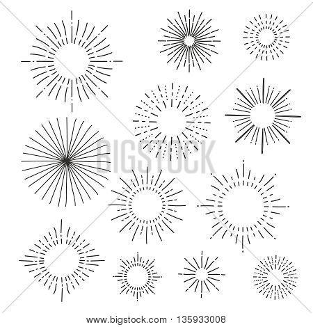 Set of vintage hand drawn sunbursts elements