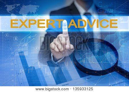 Businessman hand touching EXPERT ADVICE button on virtual screen