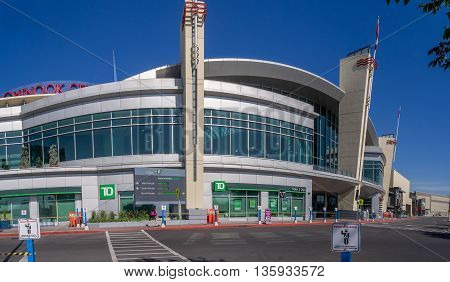 CALGARY, CANADA - JUNE 5: Entrance to Chinook Centre shopping mall on June 5, 2016 in Calgary, Alberta Canada. Chinook mall is one of the busiest malls in Alberta and Canada.