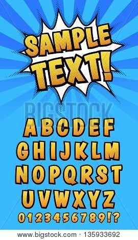 Pop art comics styled alphabet. Template, isolated, vector eps 10