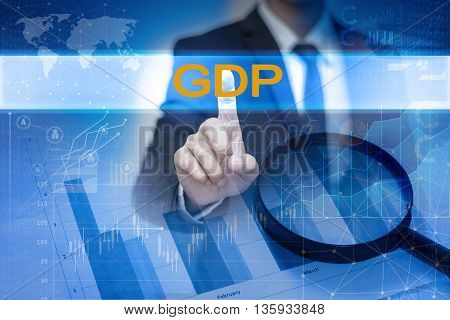 Businessman hand touching GDP button on virtual screen