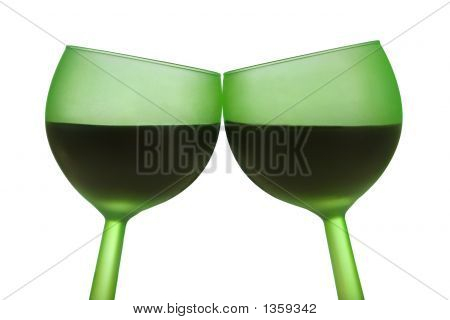 Two Green Glasses With Red Wine, Isolated On White
