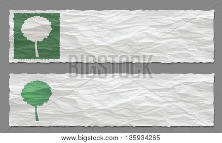 Set of two banners with crumpled paper and tree symbol