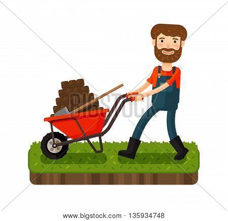 Happy farmer pushing cart with black earth. Cartoon vector illustration