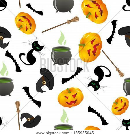 Seamless bright pattern with cartoon elements of witchcraft and witch cauldron of potion, bubbles with venom , black cat, bat, broom, hat. vector illustration