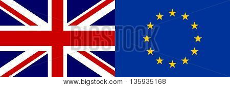 Flags of Europe and United Kingdom together