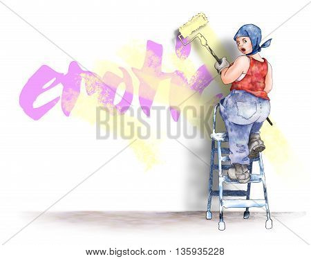 Female house painter on a ladder, paints the word