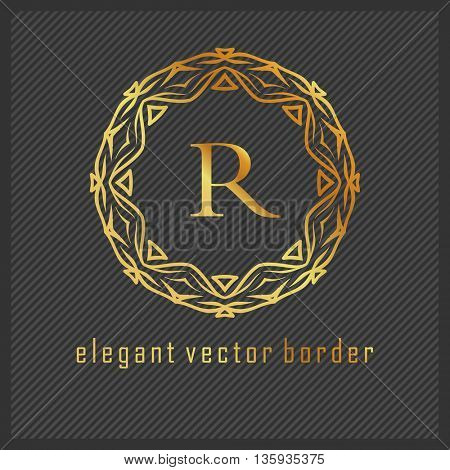 Luxury Monogram Logo. Golden colors on dark background. Design for Boutique, Restaurant, Royalty, Hotel, Cosmetics brand, VIP, Clubs. Vector Illustration.
