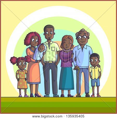 Big Happy African Cartoon Family. Parents with Children. Father mother, children with grandpa and grandma. Kids with parents and grandparents.