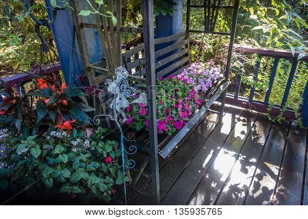 Vines and flowers grow on and surround a gazebo bench.