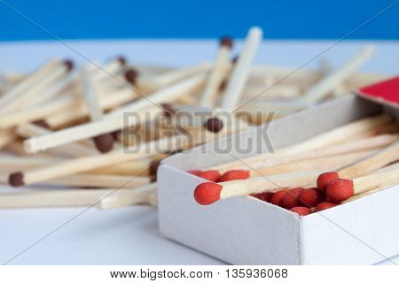 Wooden match in the box with partial focus