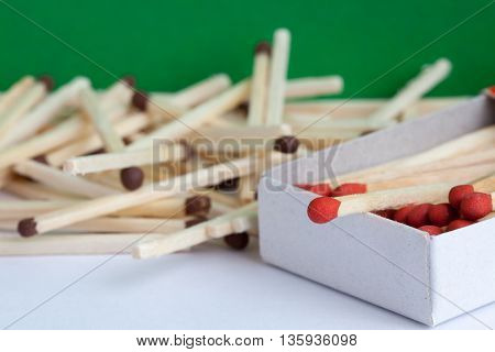 The wooden matches in the box on the white