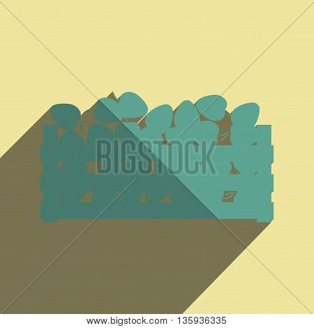 Flat icons with shadow of apple harvest. Vector illustration