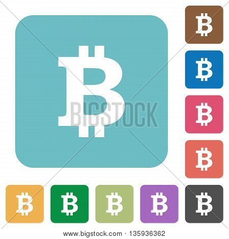Flat bitcoin sign icons on rounded square color backgrounds.