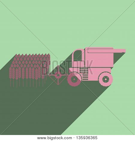Flat icons with shadow of combine-harvester gathers the wheat. Vector illustration