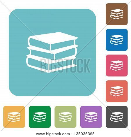 Flat books icons on rounded square color backgrounds.