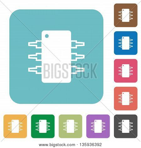 Flat integrated circuit icons on rounded square color backgrounds.