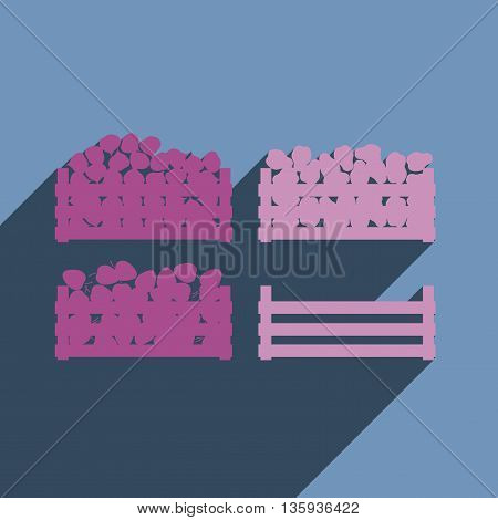 Flat icons with shadow of harvest vegetables and fruits. Vector illustration