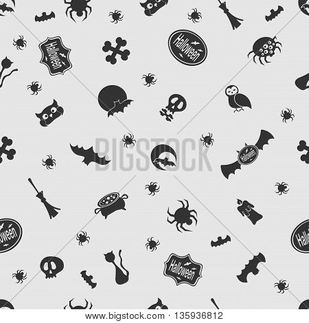 Vector illustration Halloween on the background seamless pattern. Set of elements