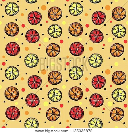 A seamless vector pattern with slices of citrus and polka dot.