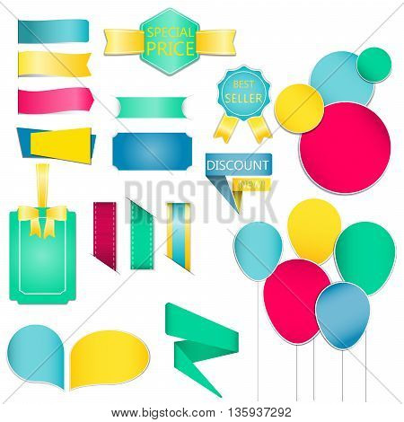 Collection of colorful speech bubbles and dialog balloons.Ribbon And Labels vector / Illustration