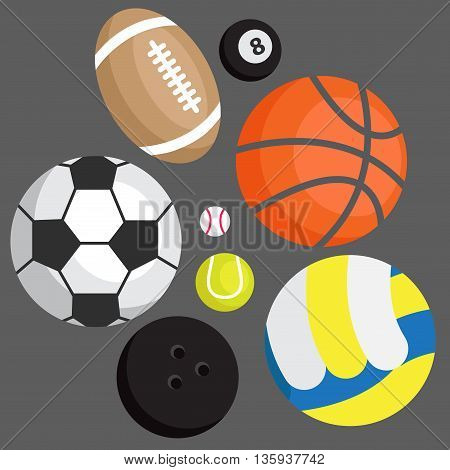 Icon set. Sports balls: football volleyball besketbol golf tennis bowling rugby snooker