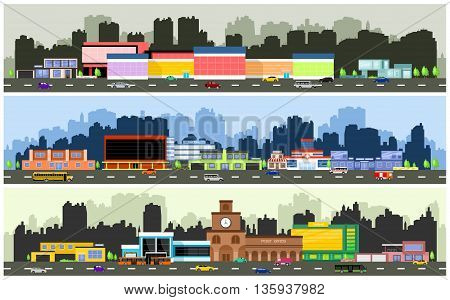 Vector urban streets with various urban buildings, houses, shops, hotels and supermarkets
