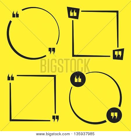 Set of empty quote square. Quotation mark or speech bubbles. Vector illustration