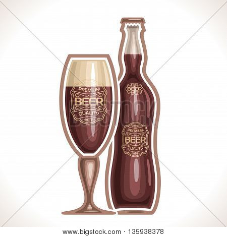 Vector logo for glass cup and bottle beer, consisting of cup, filled to the brim dark porter and bottle beer on a white background. On glass pint with alcohol drink label: Premium quality