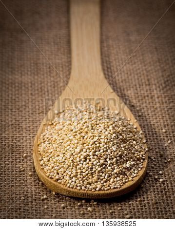Quinoa seed on wooden spoon and linen background closeup.