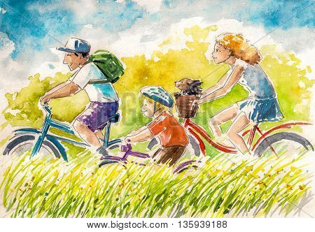 Happy family-boy and his parents on summer biking.Picture created with watercolors.