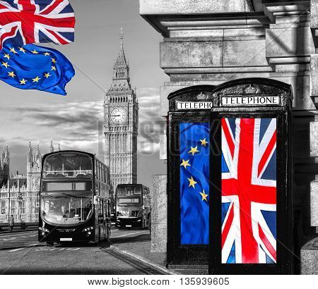 European Union And British Union Flag On Phone Booths Against Big Ben In London, England, Uk, Stay O