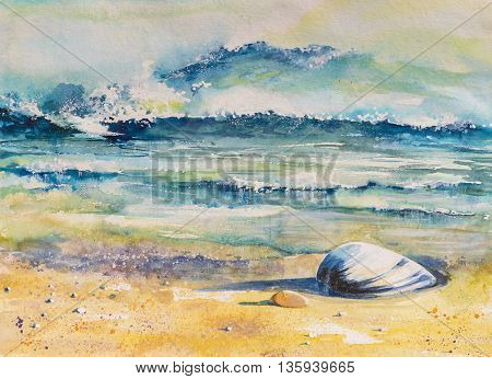 Watercolor illustration of a sea shell on a beach with sea in background.