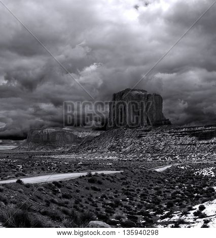Black and White Monument Valley Arizona with stormy cloudy skies
