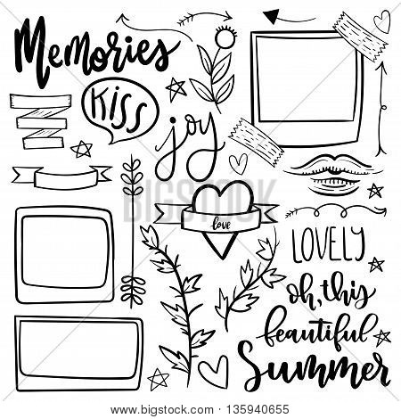 Set of cute and girly jand drawn doodle stickers. Funny, simple and trendy vector illustration. Simple icons, hearts and ribbons.