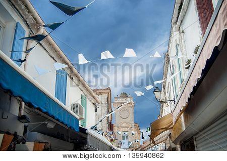 The detail of the street in Saintes-Maries-de-la-Mer