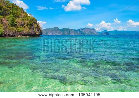 Scenic view of blue lagoon El Nido Palawan Philippines