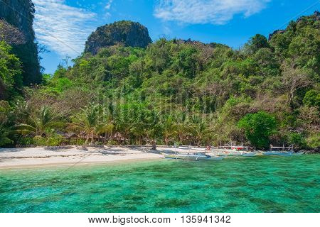 Scenic view of beautiful tropical white sand beach and rock island El Nido Palawan Philippines