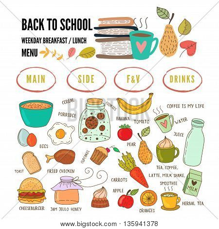 Hand drawn breakfast food and icons doodle set. Weekly school lunch menu. Vector illustration.
