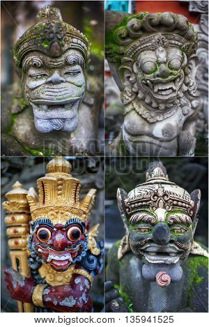 Set. traditional balinese statue on bali, indonesia