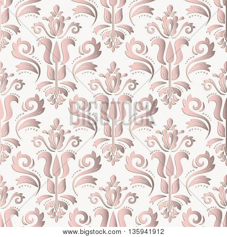 Seamless oriental ornament. Fine vector traditional oriental pattern with 3D elements, shadows and highlights. Light pink pattern