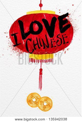 Poster red paper lantern with feng shui Chinese coin lettering I love chinese drawing with drops and splash on watercolor paper background