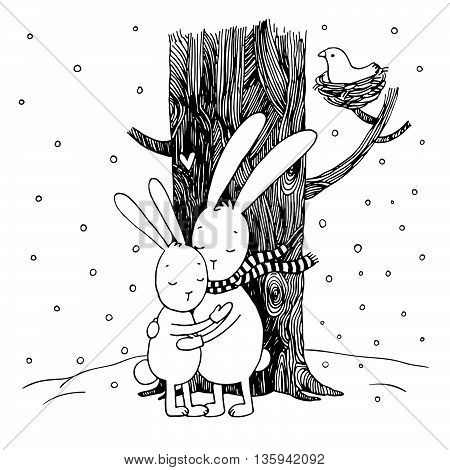 Cute cartoon hares. Winter. Hand drawing isolated objects on white background. Vector illustration.