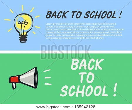 Back to school logo with light bulb and megaphone. Vector illustration.