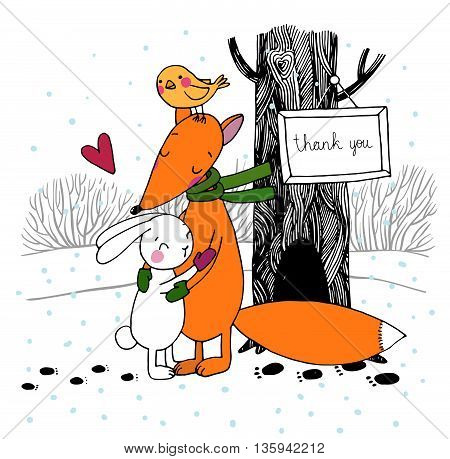 Fox, rabbit, bird and tree. Winter. Hand drawing isolated objects on white background. Vector illustration.