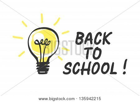 Back to school logo with light bulb. Vector illustration.