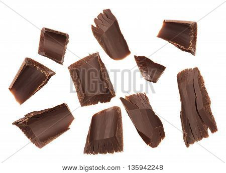 Close up Chocolate chips on a white background